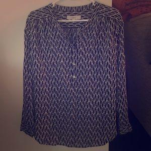Navy & white pattern blouse, 100% rayon